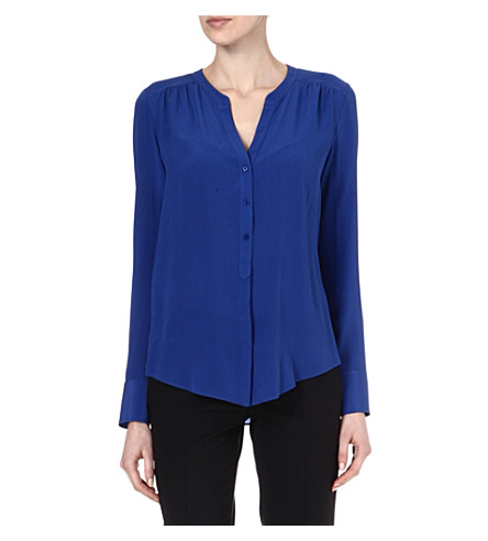 HUGO BOSS Rosalia v-neck silk shirt (Blue