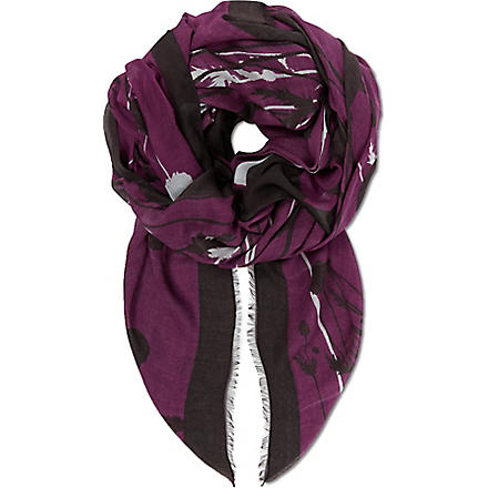 HUGO BOSS Floral print scarf (Purple