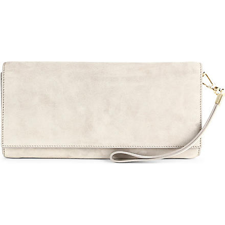 HUGO BOSS Soada suede clutch bag (Beige