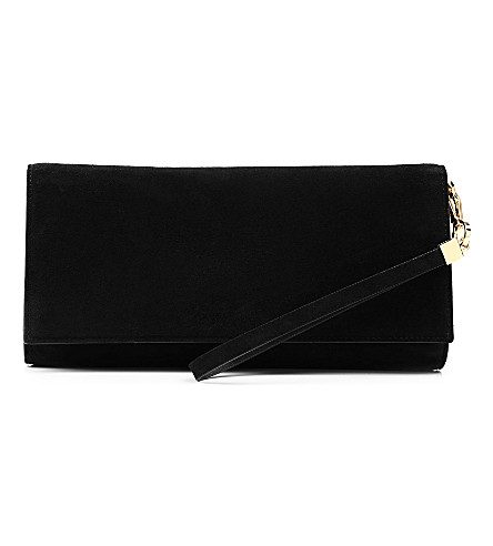 HUGO BOSS Soada suede clutch bag (Black