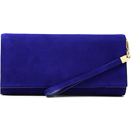 HUGO BOSS Soada suede clutch bag (Blue