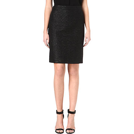 HUGO BOSS Shiny tweed pencil skirt (Black