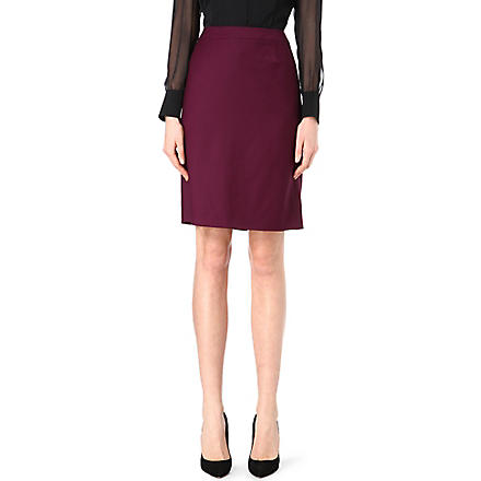 HUGO BOSS Wool-blend pencil skirt (Aubergine