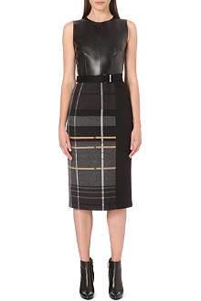 HUGO BOSS Leather contrast pencil dress