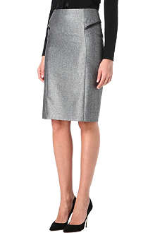 HUGO BOSS Tweed leather-trimmed skirt