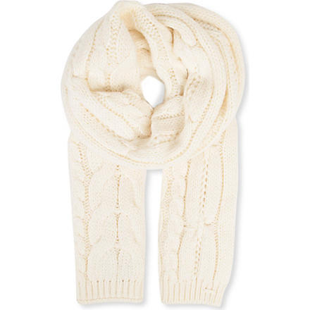 HUGO BOSS Cable-knit scarf (Cream