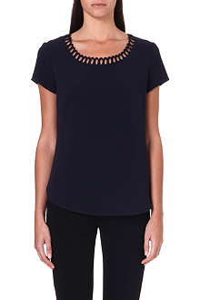 HUGO BOSS Zanetta scallop-edge crepe top