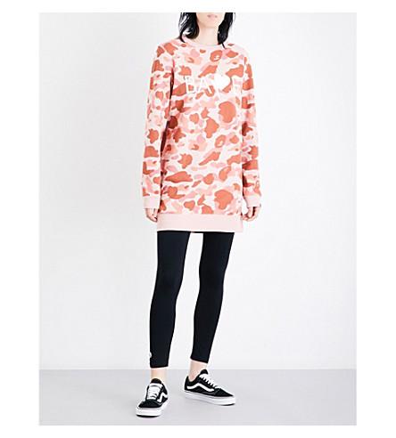 BAPE ABC camo-print longline cotton-jersey sweatshirt (Pnk