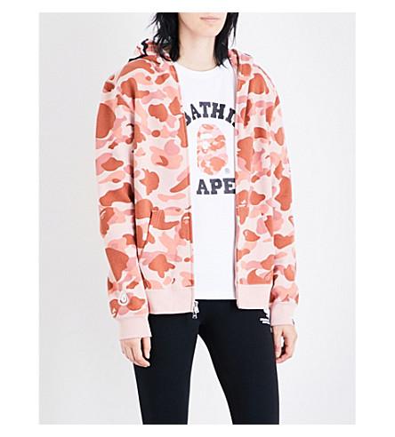 BAPE Shark hood camo-print cotton-jersey hoody (Pnk