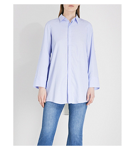 5CM Crossover-back striped woven shirt (Grey