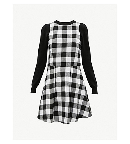 5CM Checked cotton-jersey dress (Black
