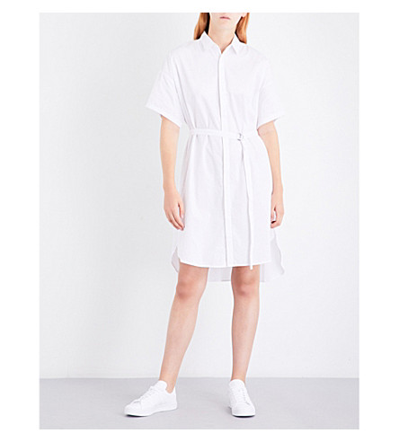 5CM Dropped-hem cotton shirt dress (White