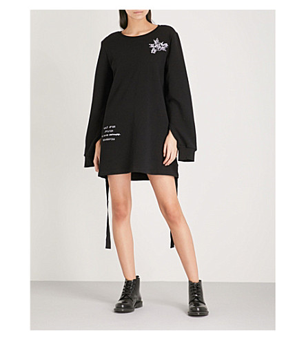 5CM Embroidered cotton-jersey jumper dress (Black
