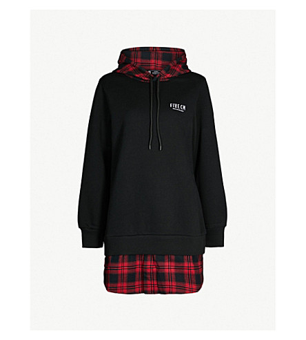 5CM Checked-underlay jersey hoody (Black