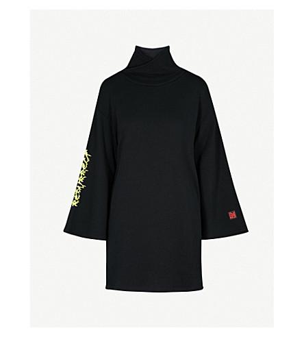 5CM 漏斗颈部平纹针织棉毛衣连衣裙 (黑色