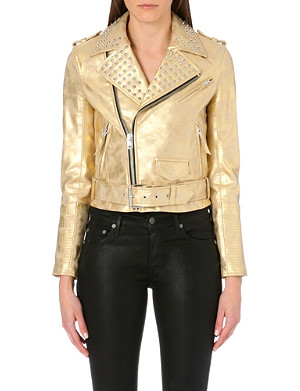 5CM Gold faux-leather biker jacket