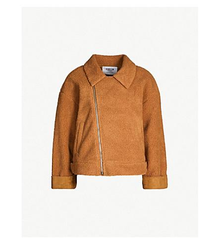 5CM Zipped shearling biker jacket (Beige