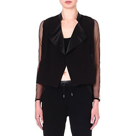 5CM I.T mesh-sleeve jacket (Black