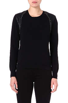 5CM I.T studded-shoulder knitted jumper