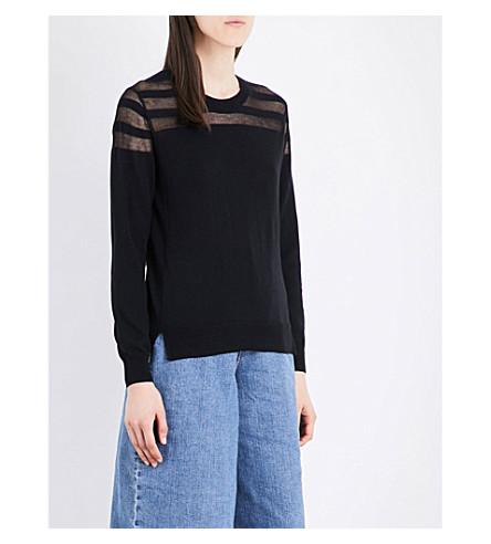 5CM Sheer-detail cotton-blend jumper (Black