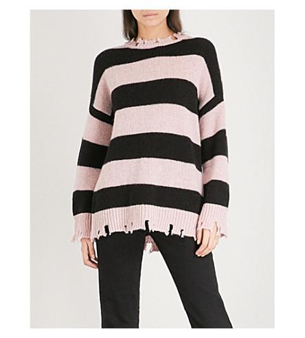 5CM Distressed-hem striped knitted jumper (Pink