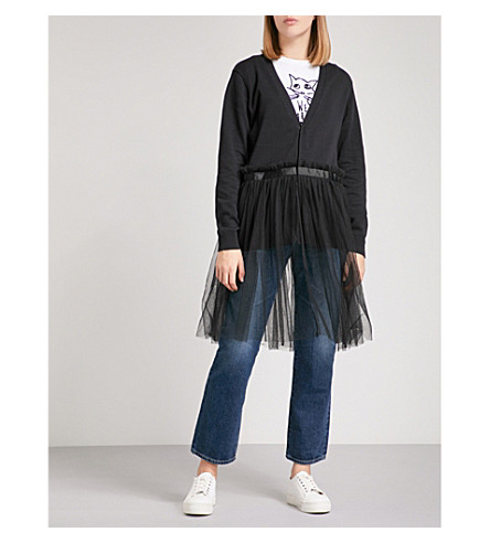 5CM Flared-hem cotton and tulle cardigan (Black