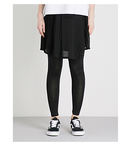5CM Pleated jersey skirt and leggings (Black