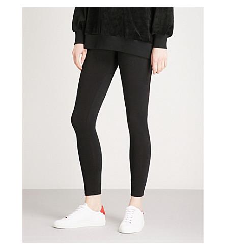 5CM Contrast-panel skinny cotton-blend leggings (Black