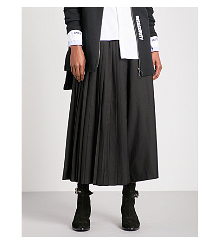 5CM Wide-leg cropped pleated gabardine trousers (Black