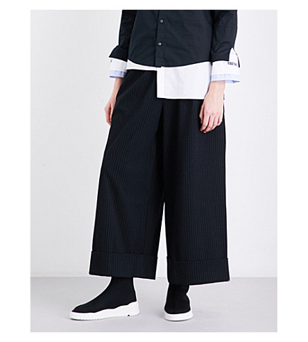 5CM Pleated wide cropped high-rise jersey trousers (Black