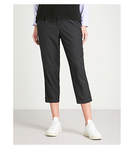 5CM Side-stripe relaxed-fit crepe trousers (Black