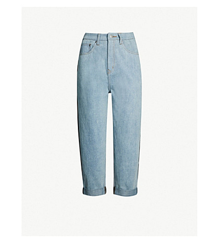 5CM Contrast-back high-rise cropped jeans (Blue