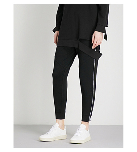5CM Contrast-stitch mid-rise cotton-jersey jogging bottoms (Black