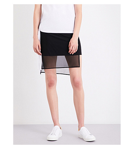 5CM Asymmetric cotton-blend skirt (Black