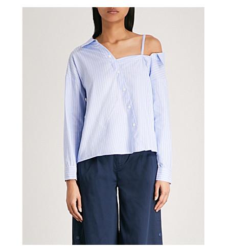 5CM Cold-shoulder asymmetric striped oxford-cotton shirt (Pale+blue