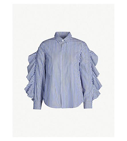5CM Ruffle-trimmed striped cotton shirt (Blue