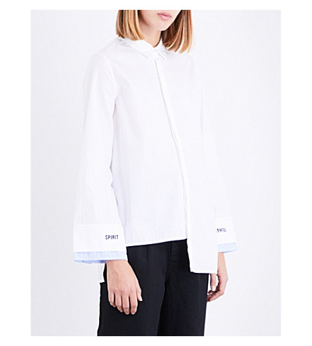 5CM Embroidered-cuffs cotton shirt (White