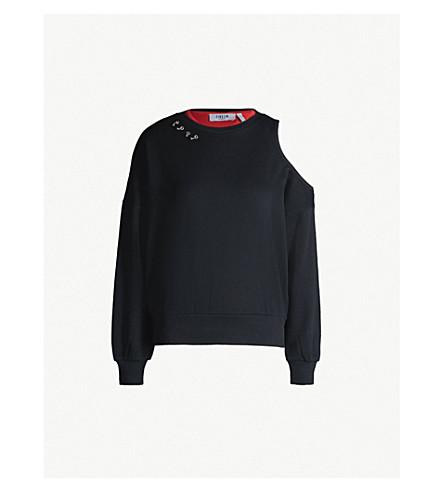 5CM Cutout shoulder cotton-jersey sweatshirt (Black