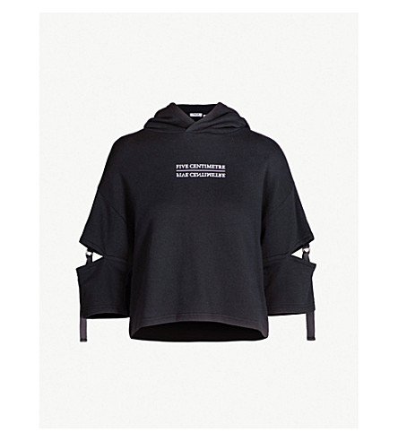 5CM Cut out-detail cotton-jersey hoody (Black