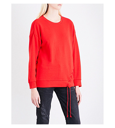5CM Lace-up cotton-jersey sweatshirt (Red