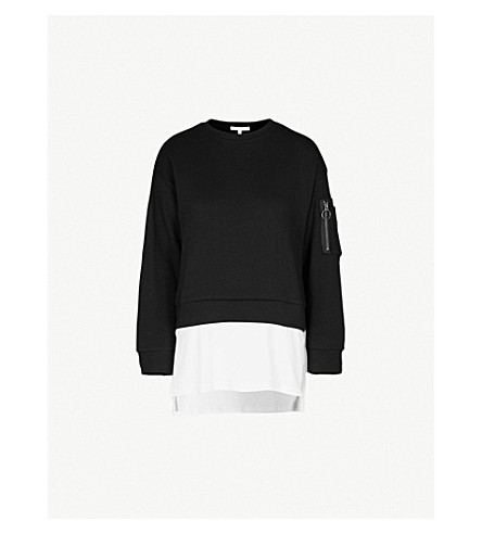 5CM Layered cotton-jersey jumper (Black