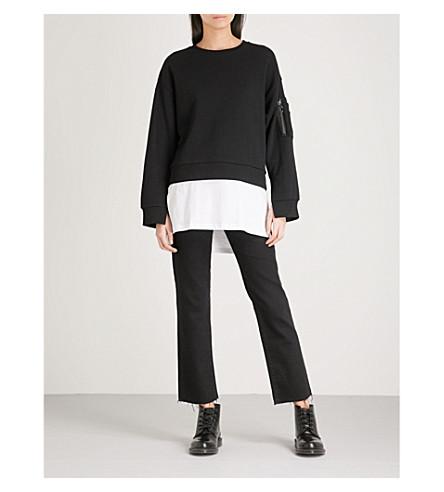 5CM Layered cotton-jersey jumper (Black