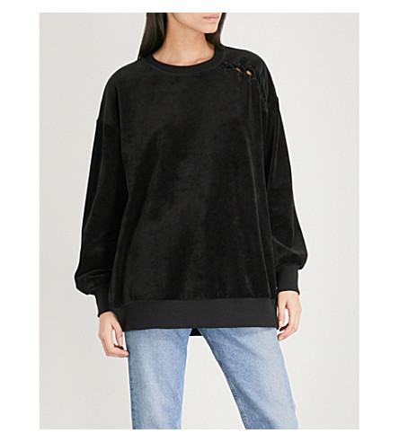 5CM Laced-detail velvet sweatshirt (Black