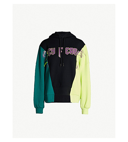 5CM Colour-blocked slogan-print cotton-jersey hoody (Black/green/yellow
