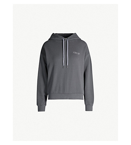 5CM Logo-embroidered cotton-jersey hoody (Grey
