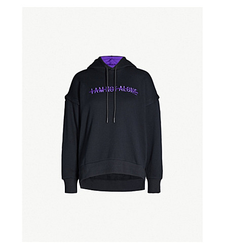 5CM Slogan-embroidered cotton-jersey hoody (Black