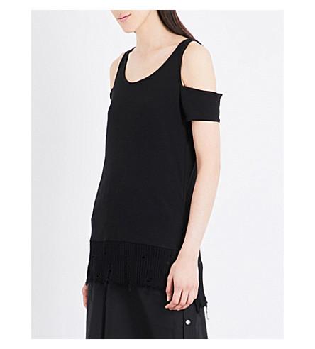 5CM Cold-shoulder stretch-knit top (Black