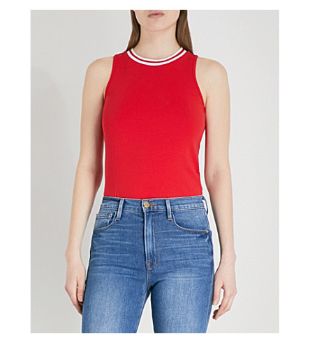 5CM Ribbed-trim sleeveless cotton-jersey top (Red