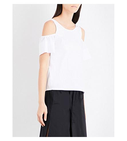 5CM Cold-shoulder cotton-poplin top (Whx