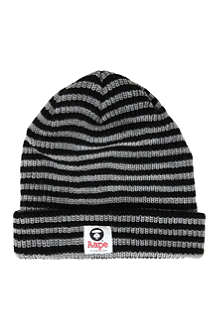 AAPE I.T striped knitted beanie hat